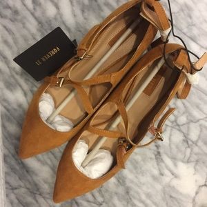 Caramel Suede Strapy Flats